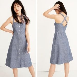 NEW Madewell   Chambray Tank Button-Front Midi 8